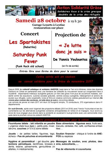 128a20c45bf samedi 28 octobre 2017 à 19h30 Garage Lezarts84 route de Bordeaux33550  LESTIAC Concert solidaire - collecte pour le convoi de novembre vers la  Grèce ...